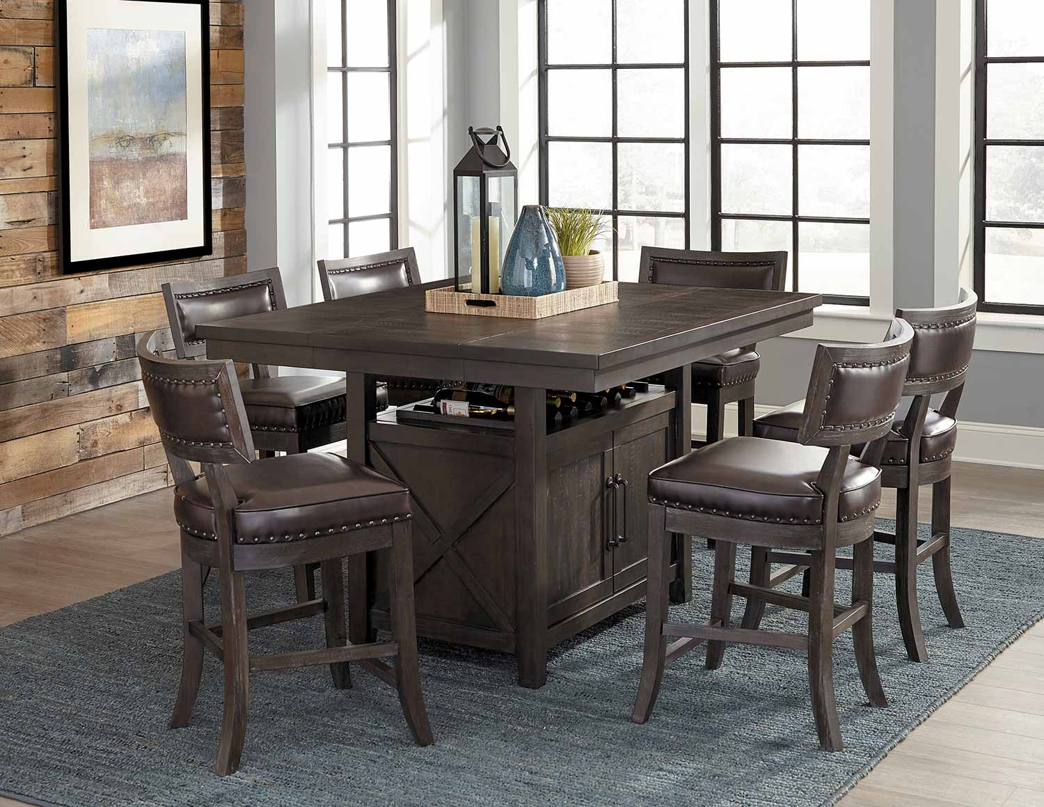 Homelegance Oxton Counter Height Dining Set - Rustic Brown