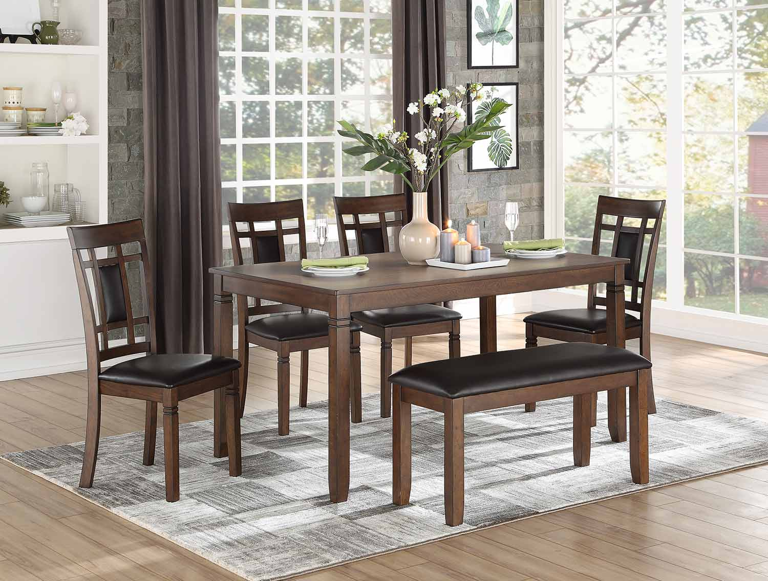 Homelegance Salton 6-Piece Pack Dinette Set - Bench: 38.5 x 15.5 x 19H