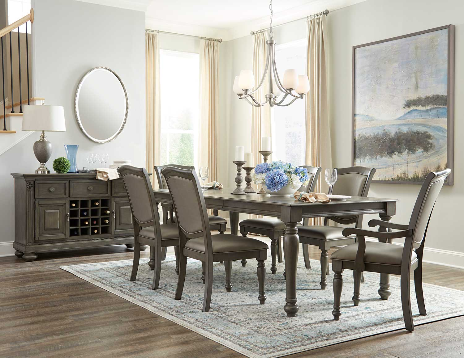 Homelegance Summerdale Dining Set - Birch veneer - Gray Bi-cast Vinyl