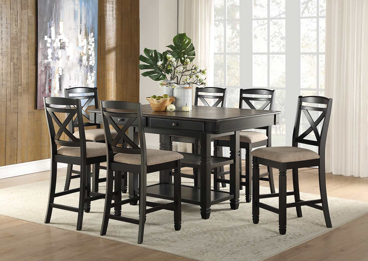 Homelegance Baywater Counter Height Dining Set - Black -Natural