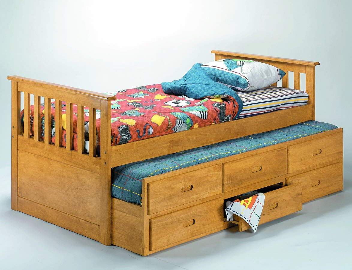 Homelegance tahoe natural finish captain bed with pull out for Beds with trundle