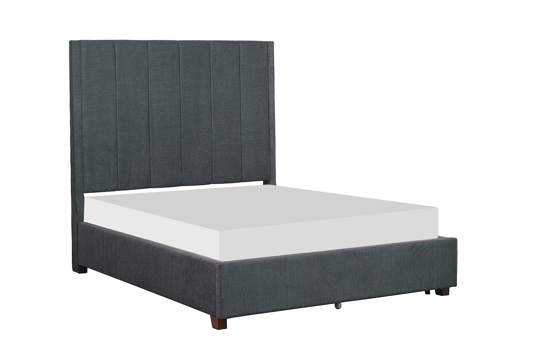 Homelegance Neunan Platform Bed with Storage Footboard - Dark Gray