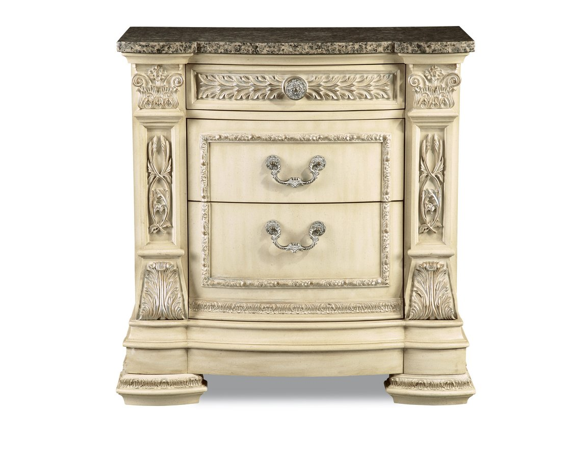 Pulaski Royale Silver Bisque Stone Top Nightstand Pf