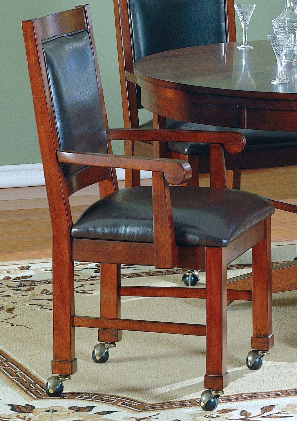 Homelegance Davilla Arm Chair with Caster Brown Bi-Cast Leather