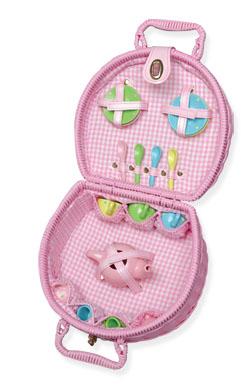 KidKraft Cooking up Fun Lil' Doll Tea Set w/ Pink Basket