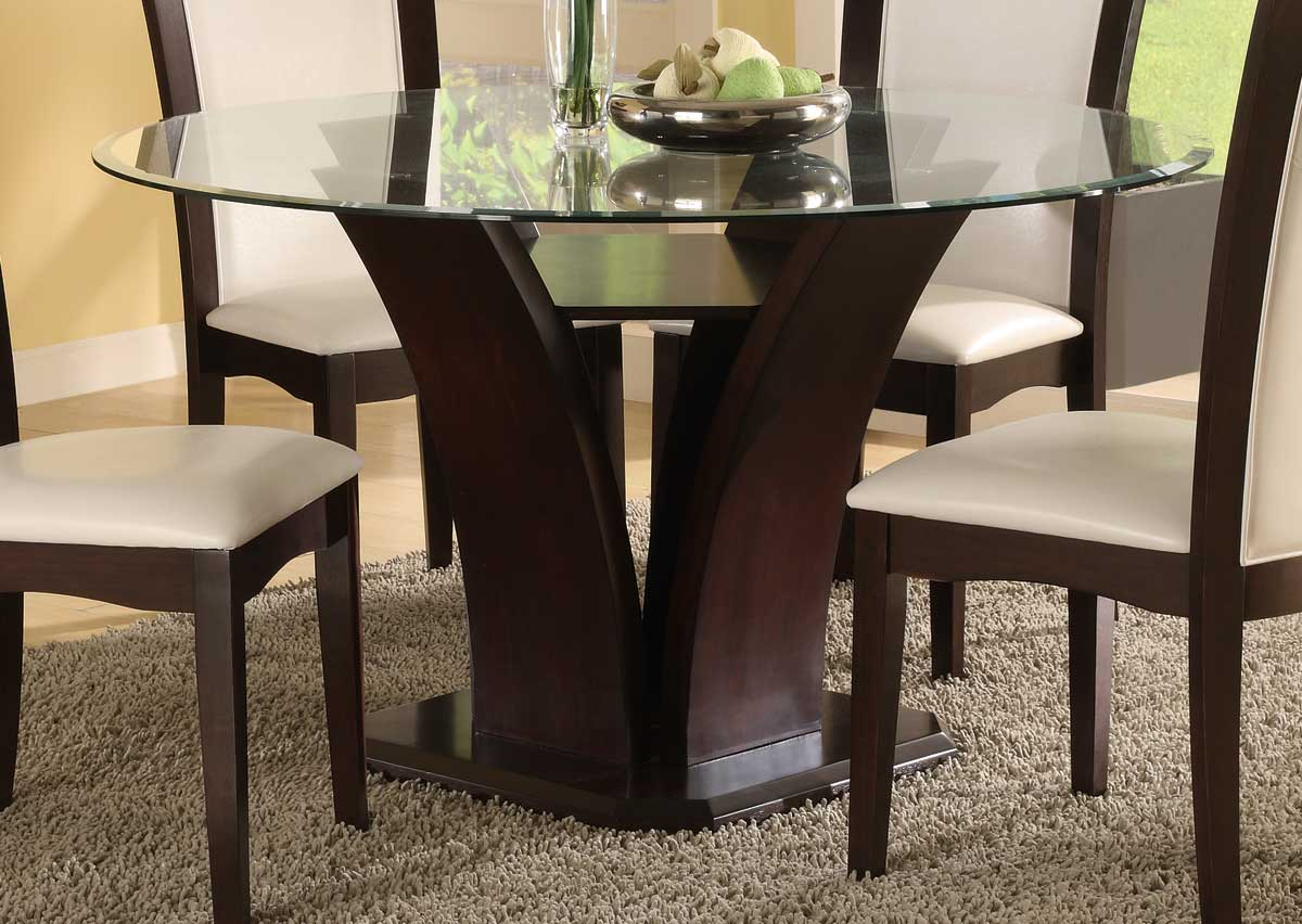 Homelegance daisy round 54 inch dining table 710 54 for Latest wooden dining table designs with glass top