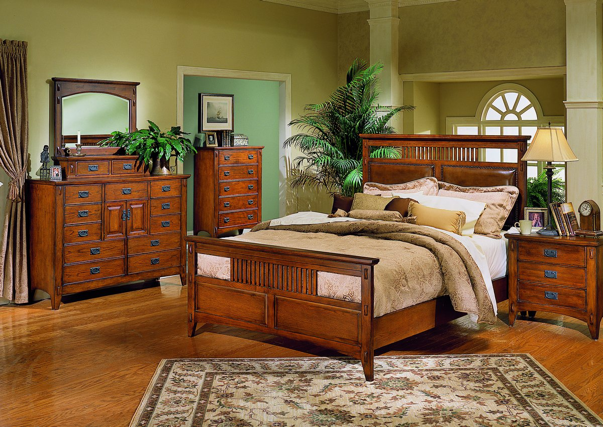 Homelegance Arts and Craft Queen Bed with Leather Headboard Panels and Wood