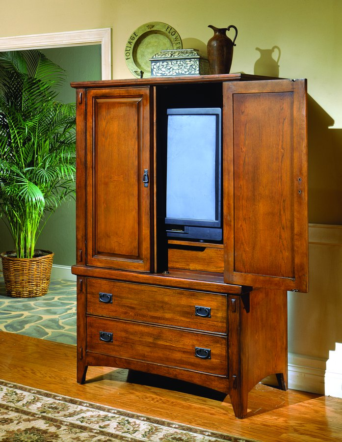 Homelegance Arts and Craft TV Armoire with Tray Inside