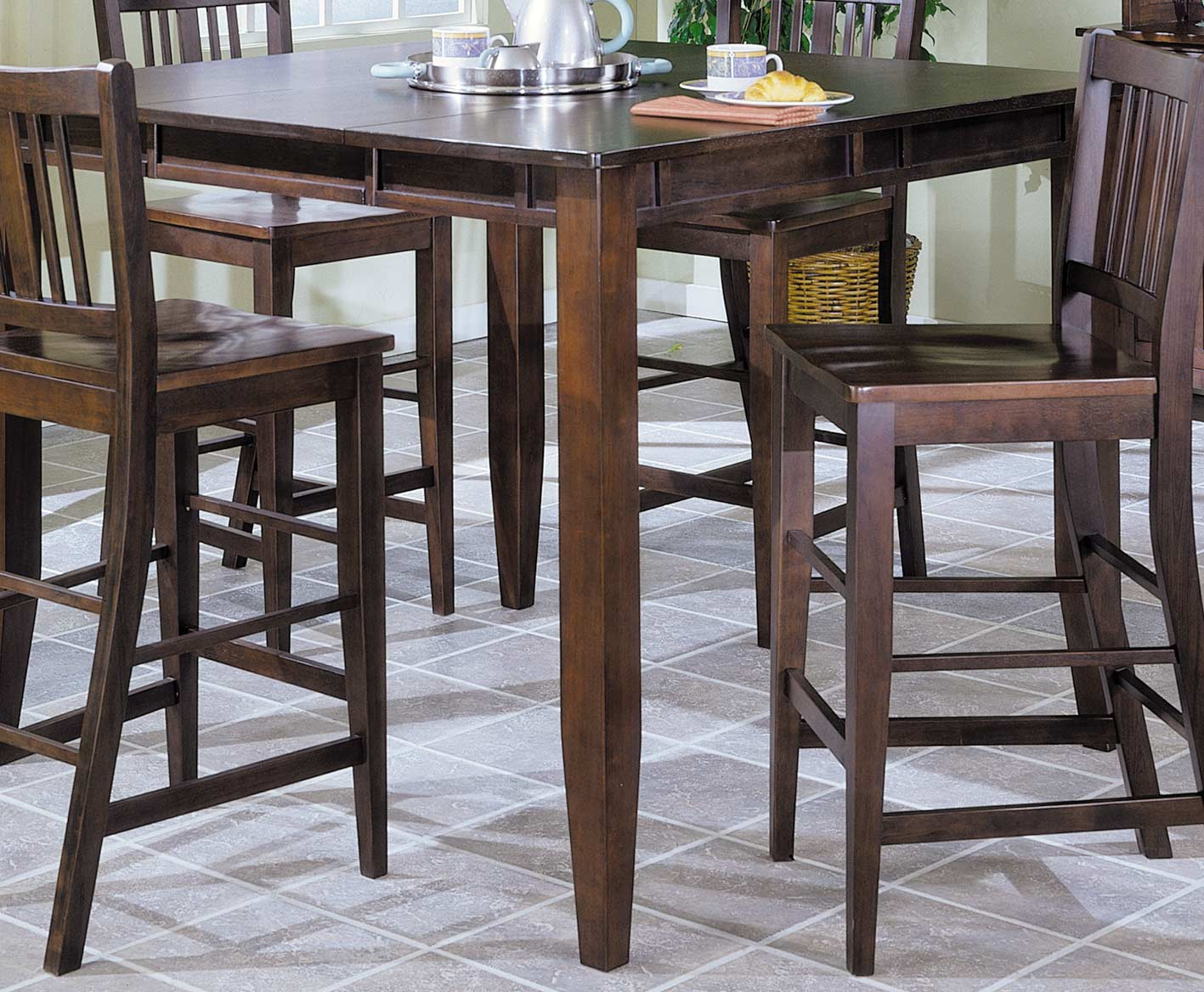 Homelegance Market Square Pub Dining Table wth Butterfly Leaf Extension-Home