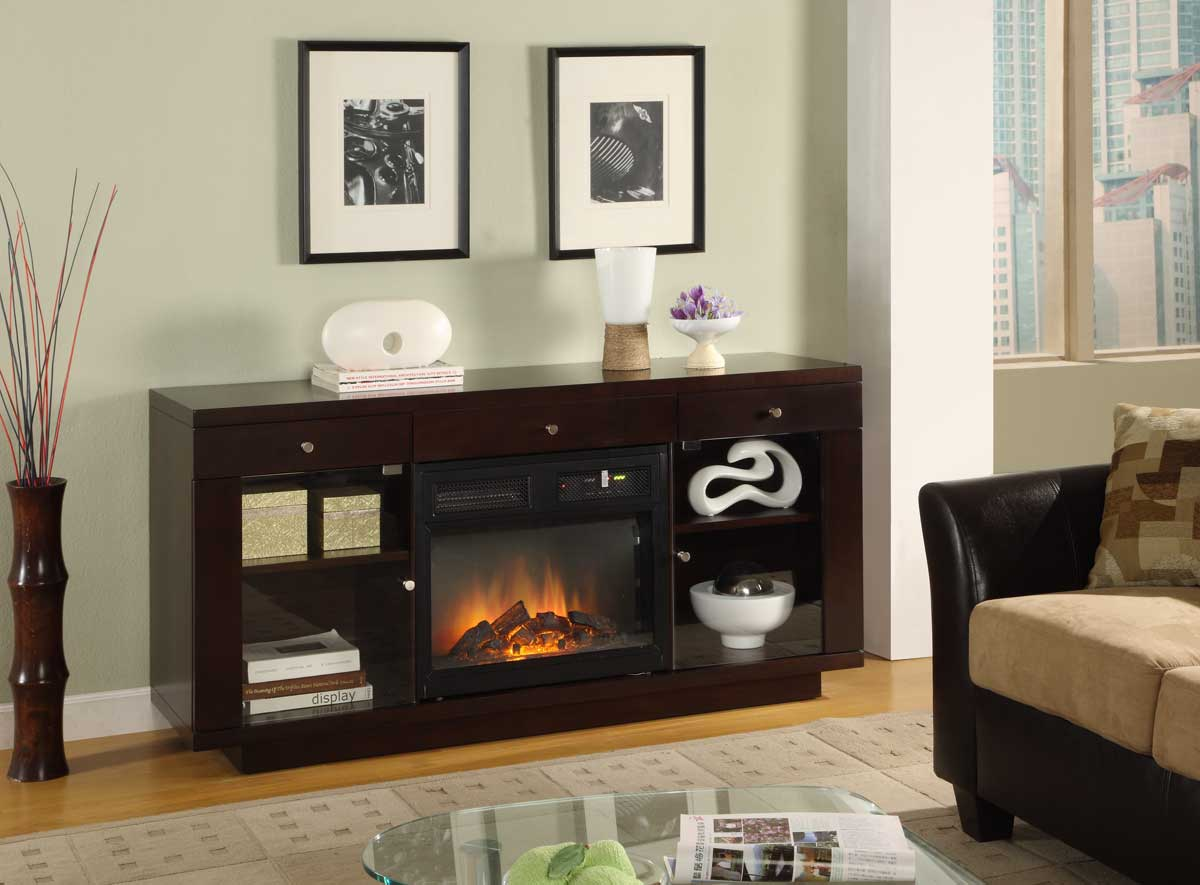 Homelegance Saphire Tv Stand With Electric Fireplace 8102