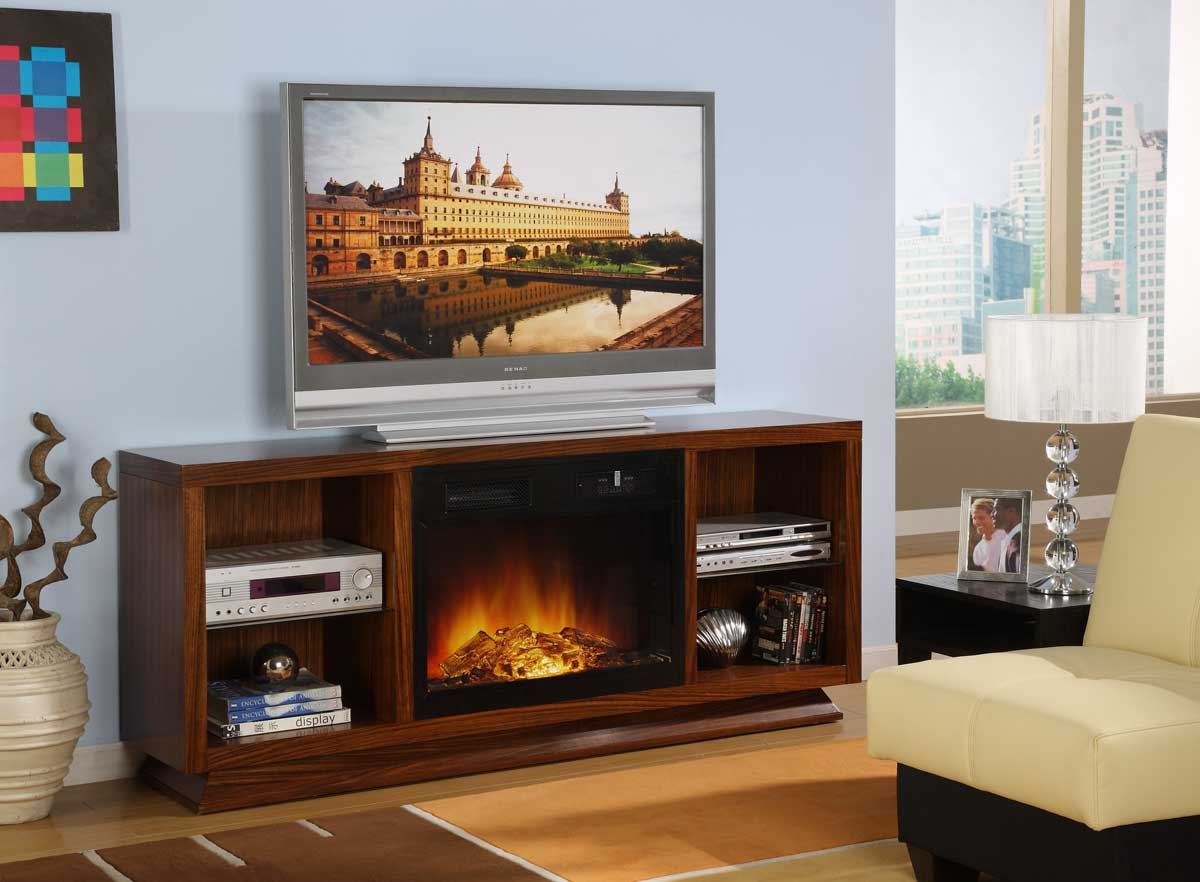 Homelegance crystal tv stand with electric fireplace 8104 - Caminetti elettrici a parete ...