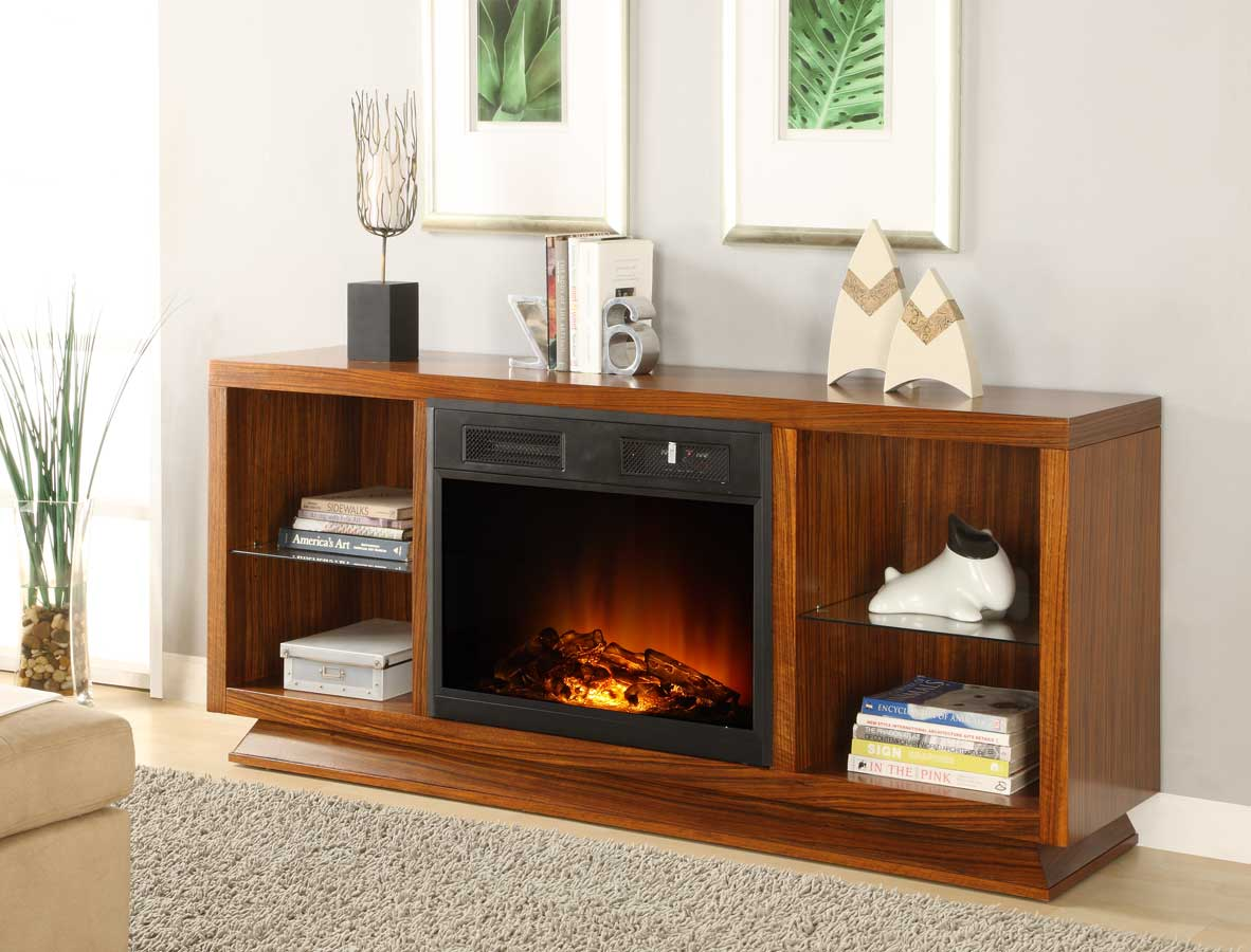 Homelegance Crystal TV Stand with Electric Fireplace