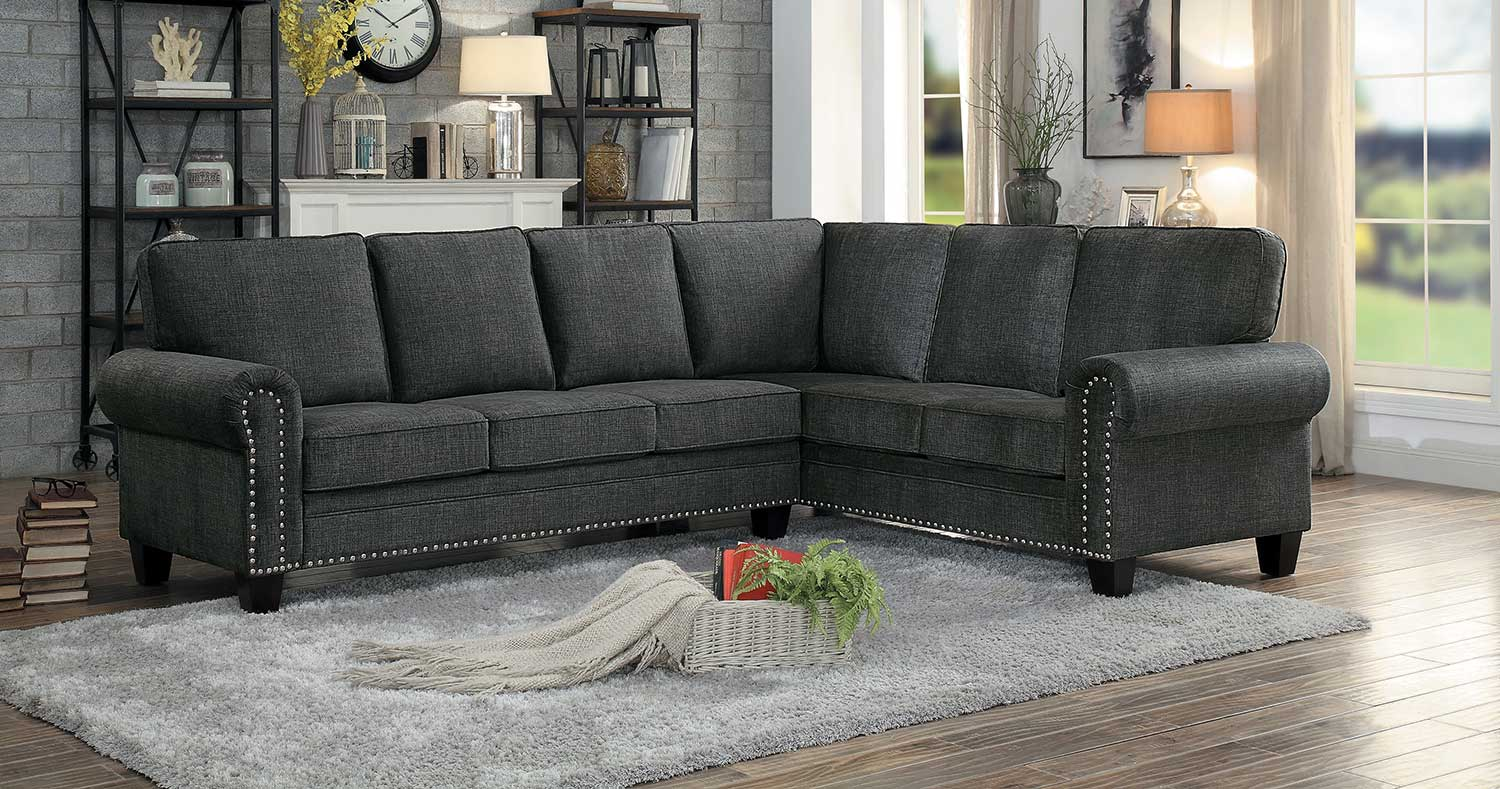 Homelegance Cornelia Sectional Sofa - Dark Gray