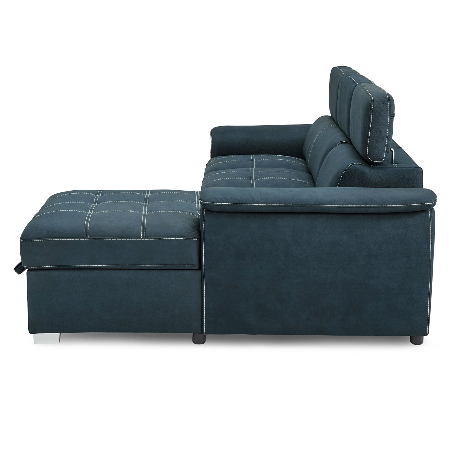 Homelegance Ferriday Sectional with Pull-out Bed and Hidden Storage - Blue