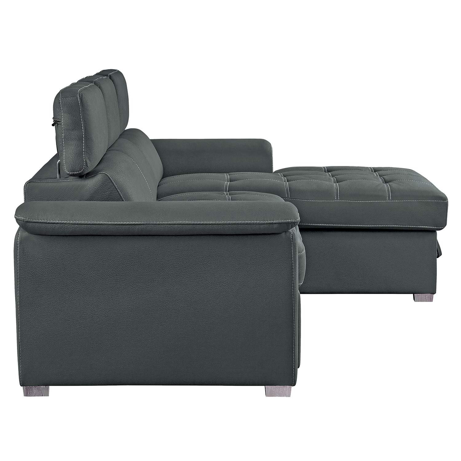 Homelegance Ferriday Sectional with Pull-out Bed and Hidden Storage - Gray