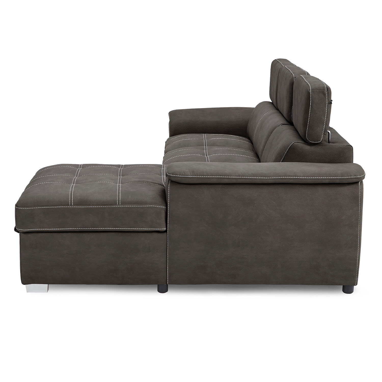 Homelegance Ferriday Sectional with Pull-out Bed and Hidden Storage - Taupe