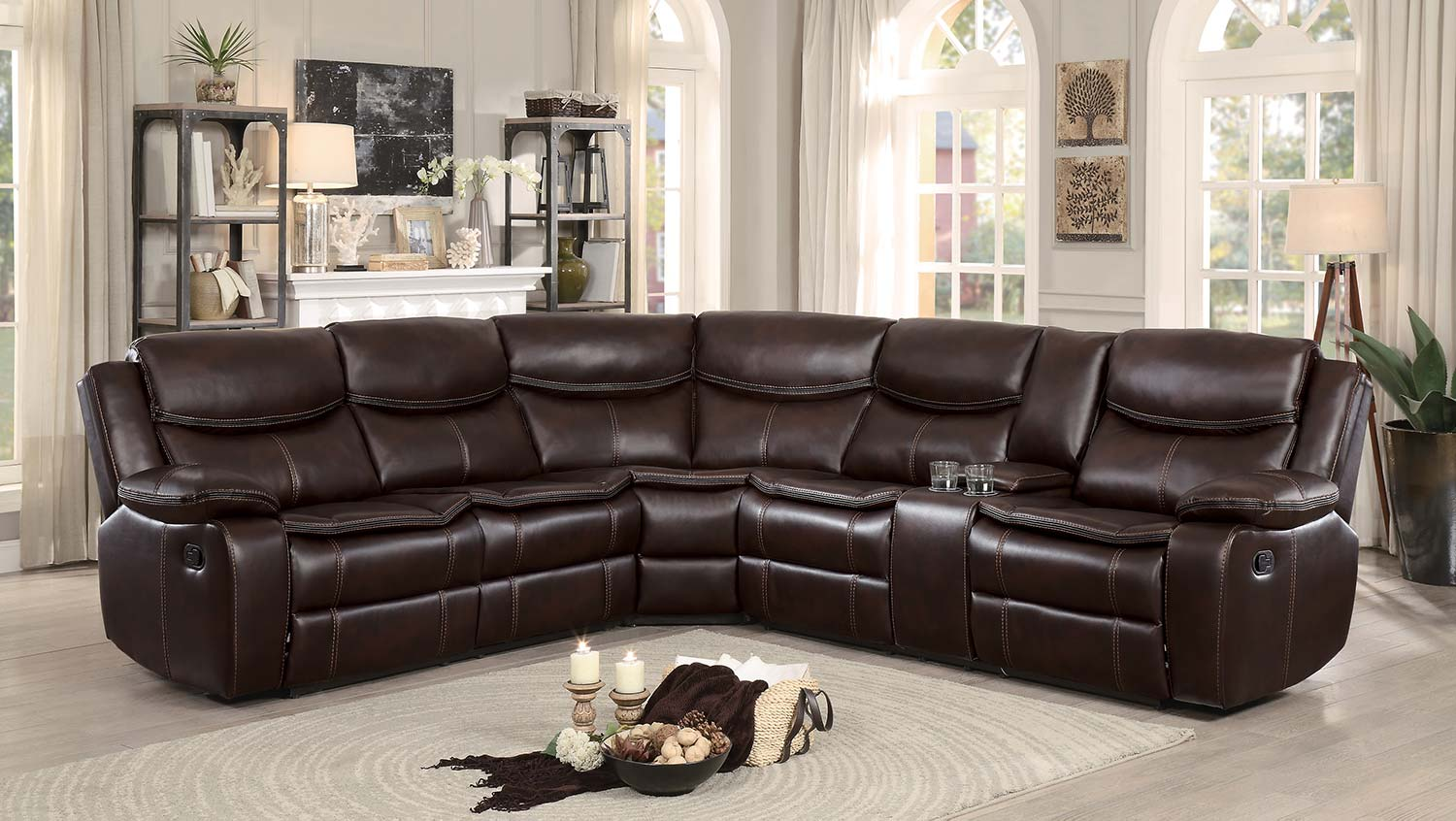 Homelegance Bastrop Reclining Sectional Sofa - Dark Brown