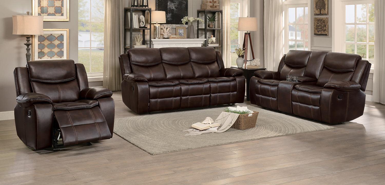 Homelegance Bastrop Reclining Sofa Set - Dark Brown