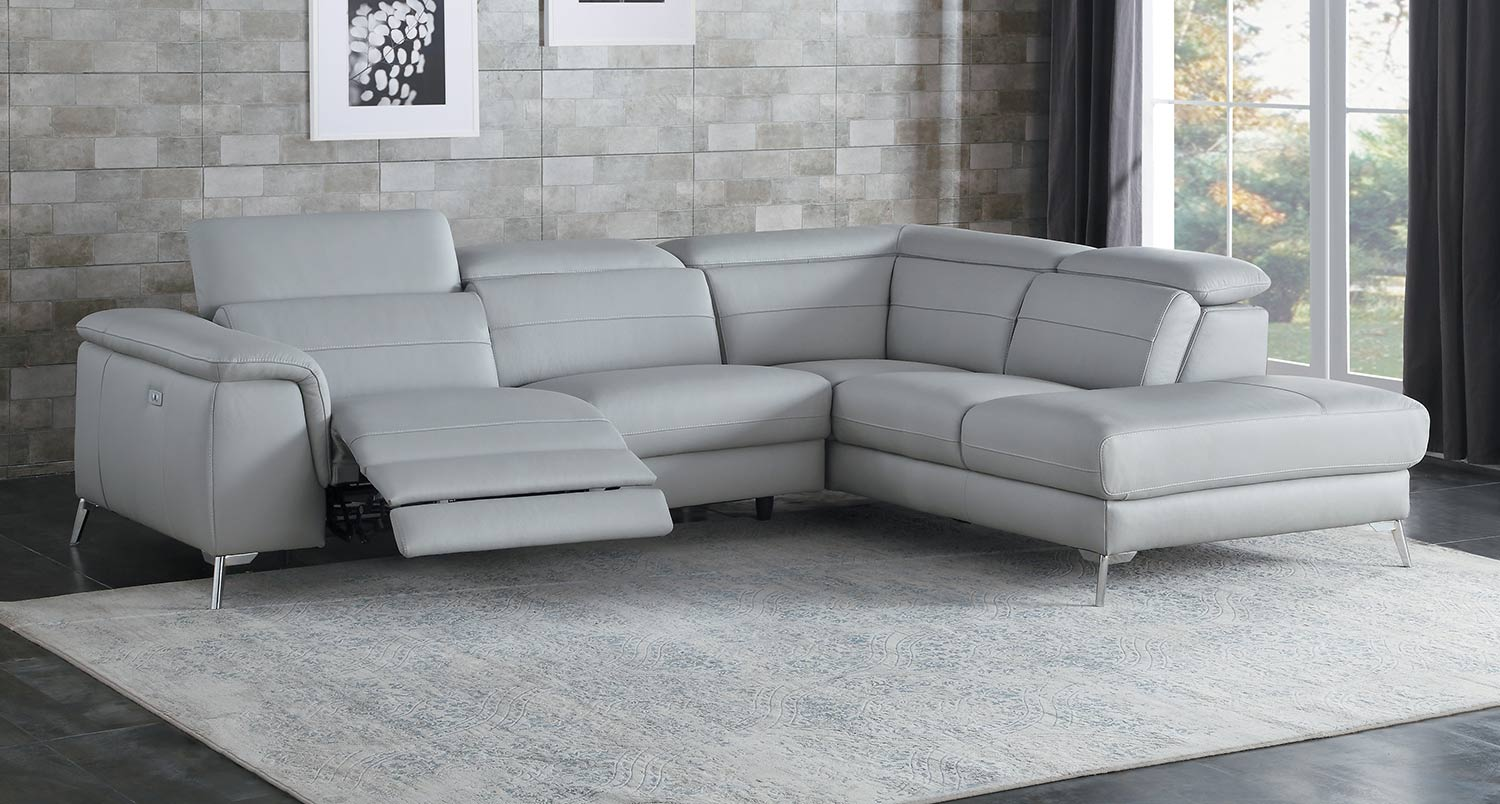 Homelegance Cinque Reclining Sectional Sofa - Light Grey
