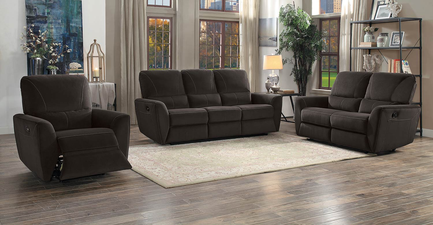 Homelegance Dowling Double Reclining Sofa Set - Chocolate