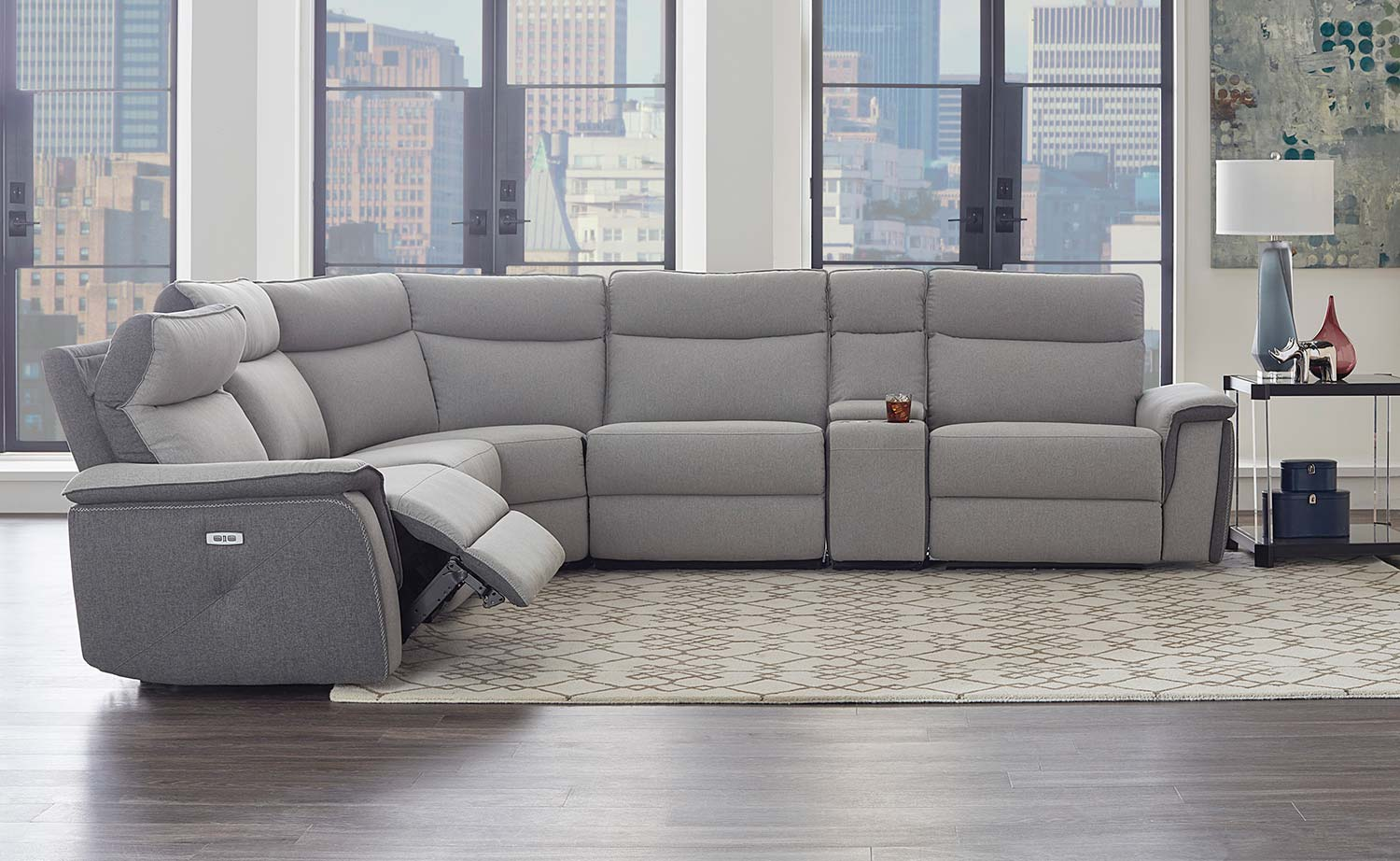 Homelegance Maroni Power Reclining Sectional Sofa Set - Grey