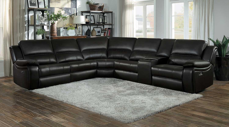 Homelegance Falun Power Reclining Sectional Sofa Set - Dark Brown