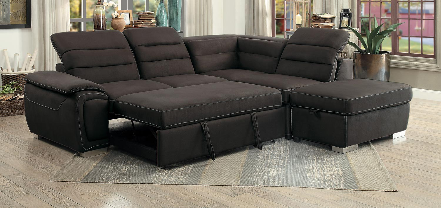 Picture of: Homelegance Platina Sectional With Pull Out Bed And Storage Ottoman Chocolate 8277ch At Homelement Com