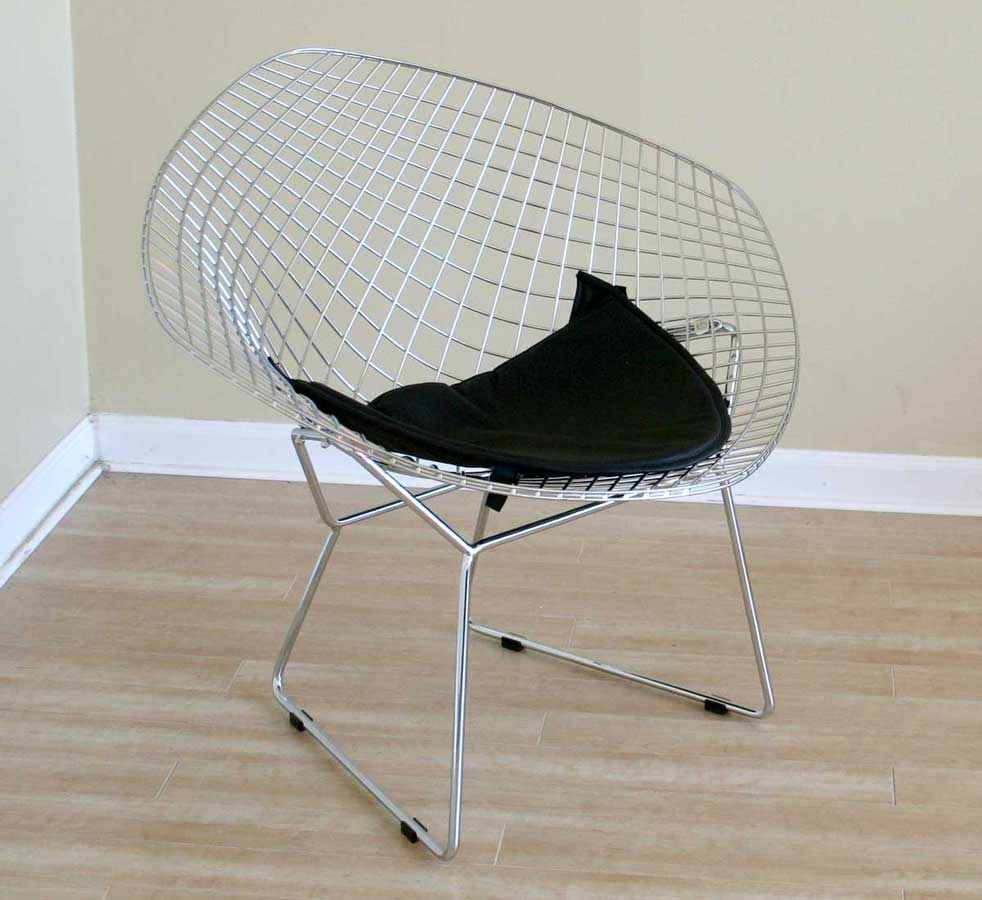 Wholesale Interiors 8300 Bertoia Wire Side Chair with Leatherette Seat Pad