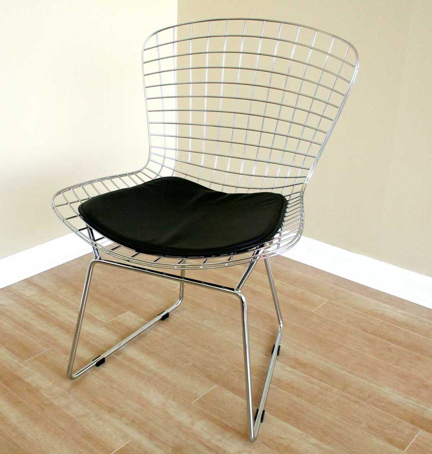 Wholesale Interiors 8320 Bertoia Wire Side Chair with Leatherette Seat Pad