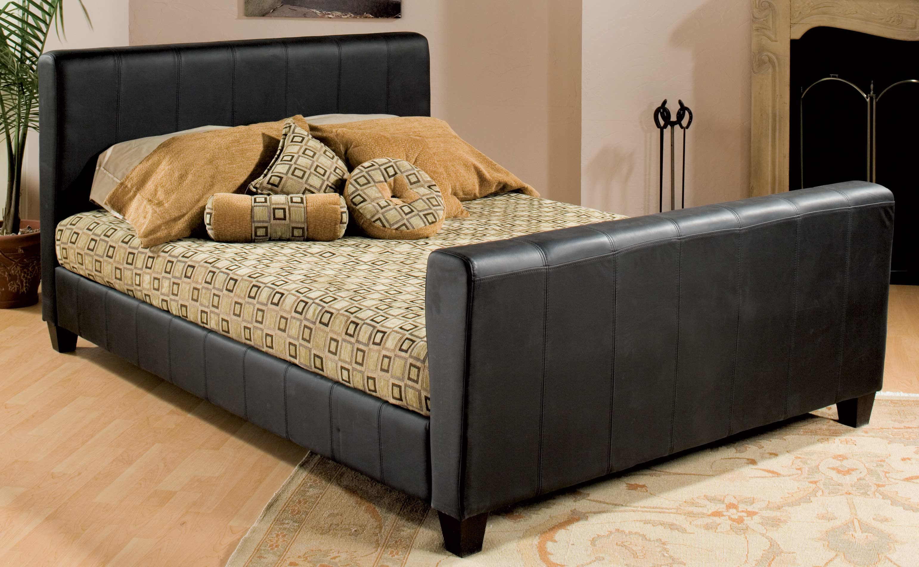 Homelegance Simple Queen Platform Bed Black Leather