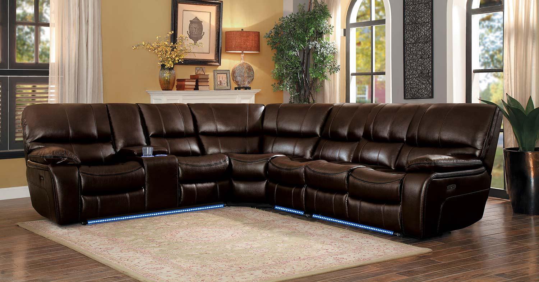 Homelegance Pecos Power Sectional Sofa Set - Dark Brown