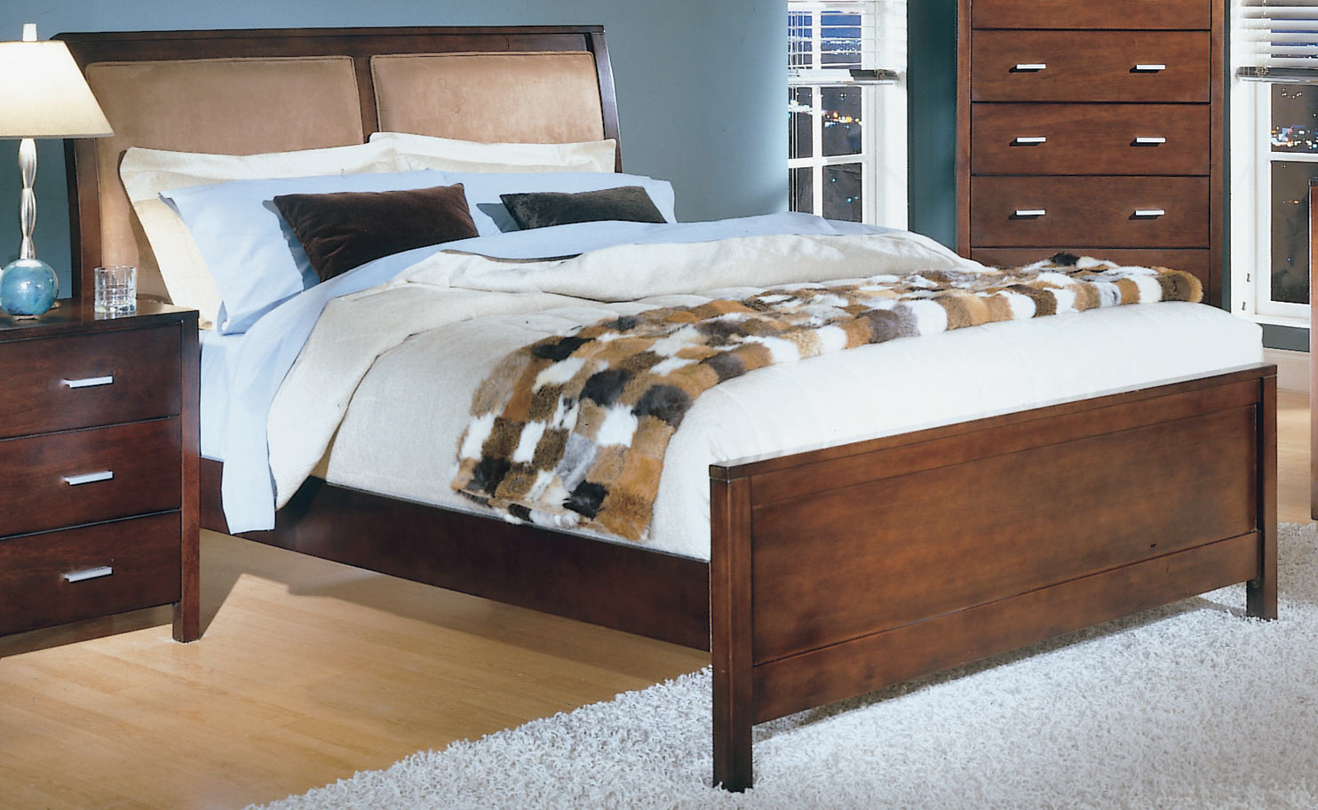 Strata Bed With Microfiber Headboard-Homelegance