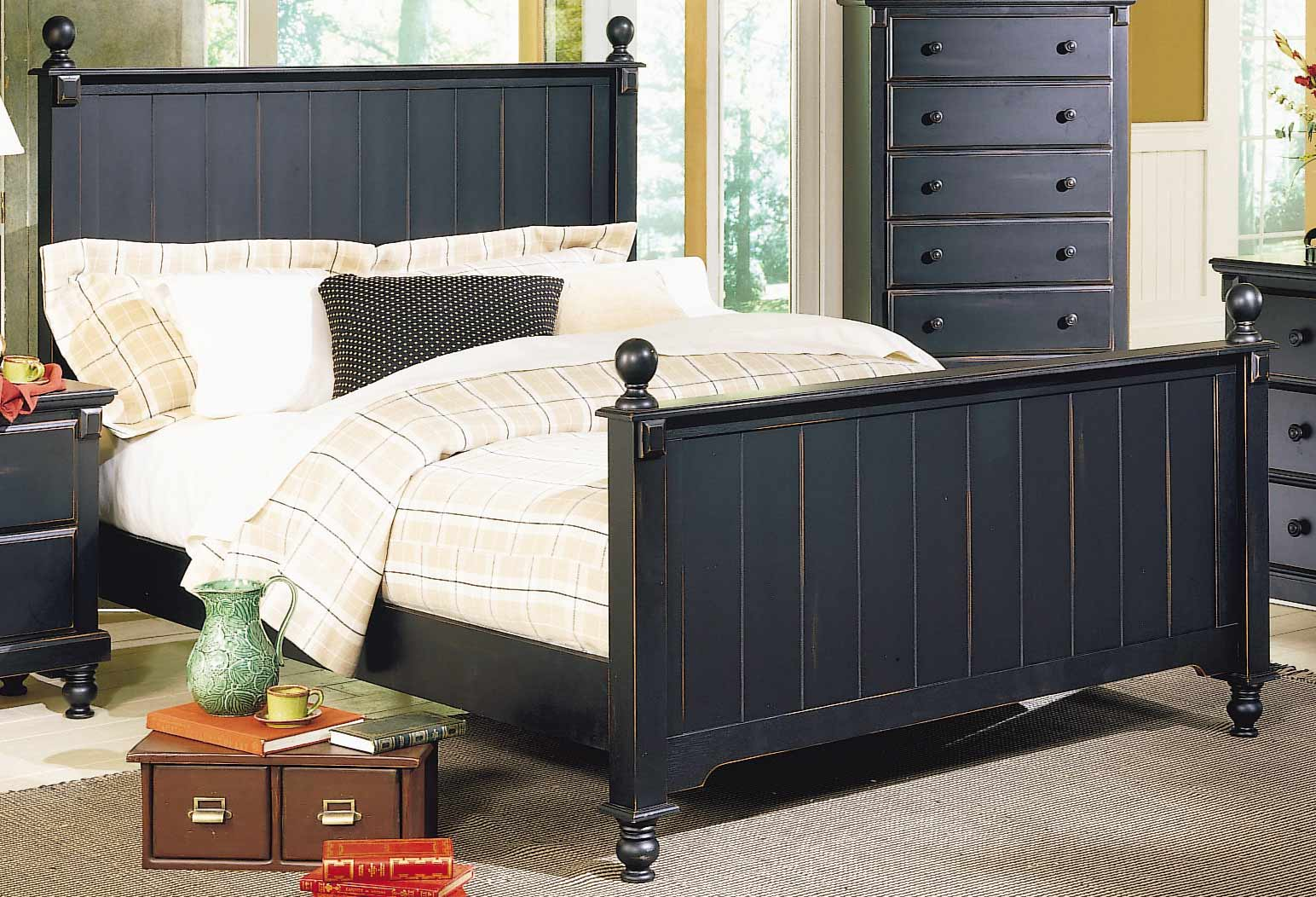 Homelegance Pottery Panel Bed Black 875-1