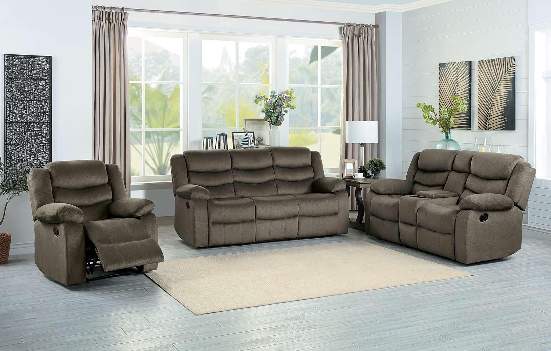 Homelegance Discus Reclining Sofa Set - Brown