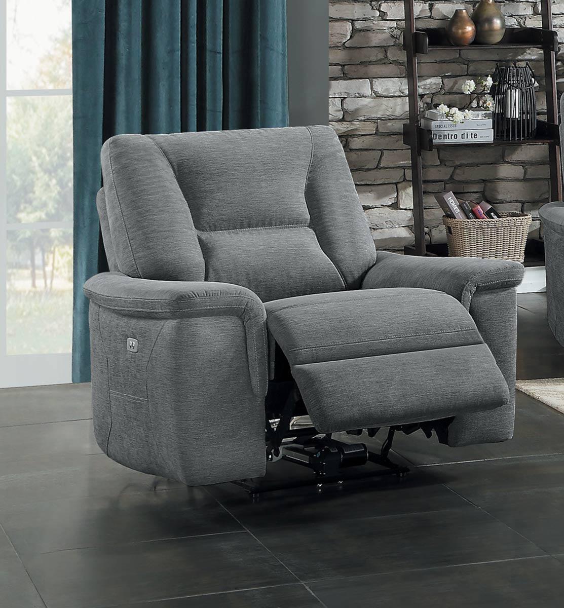Homelegance Edelweiss Power Reclining Chair - Metal gray