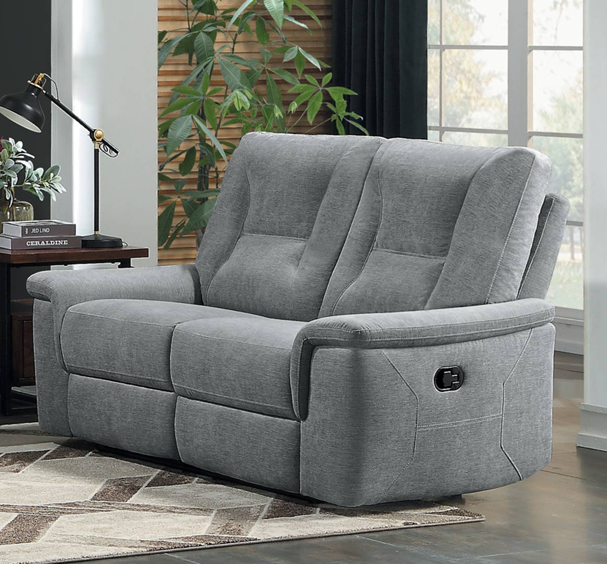 Homelegance Edelweiss Double Reclining Love Seat - Metal gray