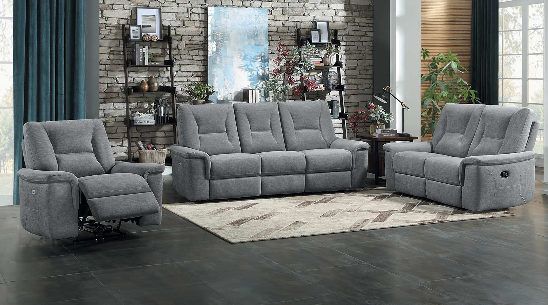 Homelegance Edelweiss Power Reclining Sofa Set - Metal gray
