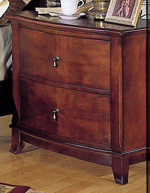 Homelegance Avalon 2 Drawer Night Stand with Bow Front
