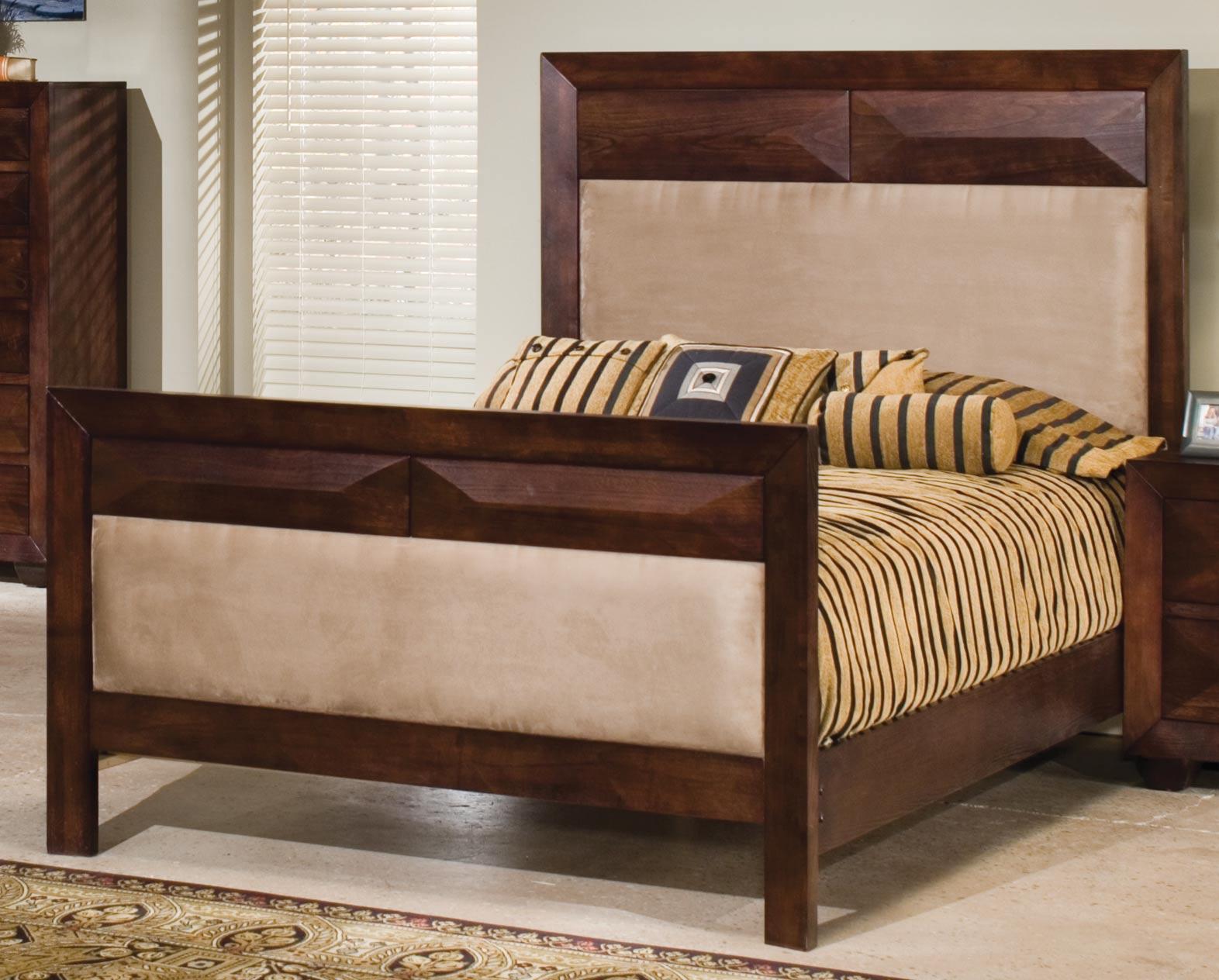 Homelegance King Tut Panel Bed Peat Microfiber
