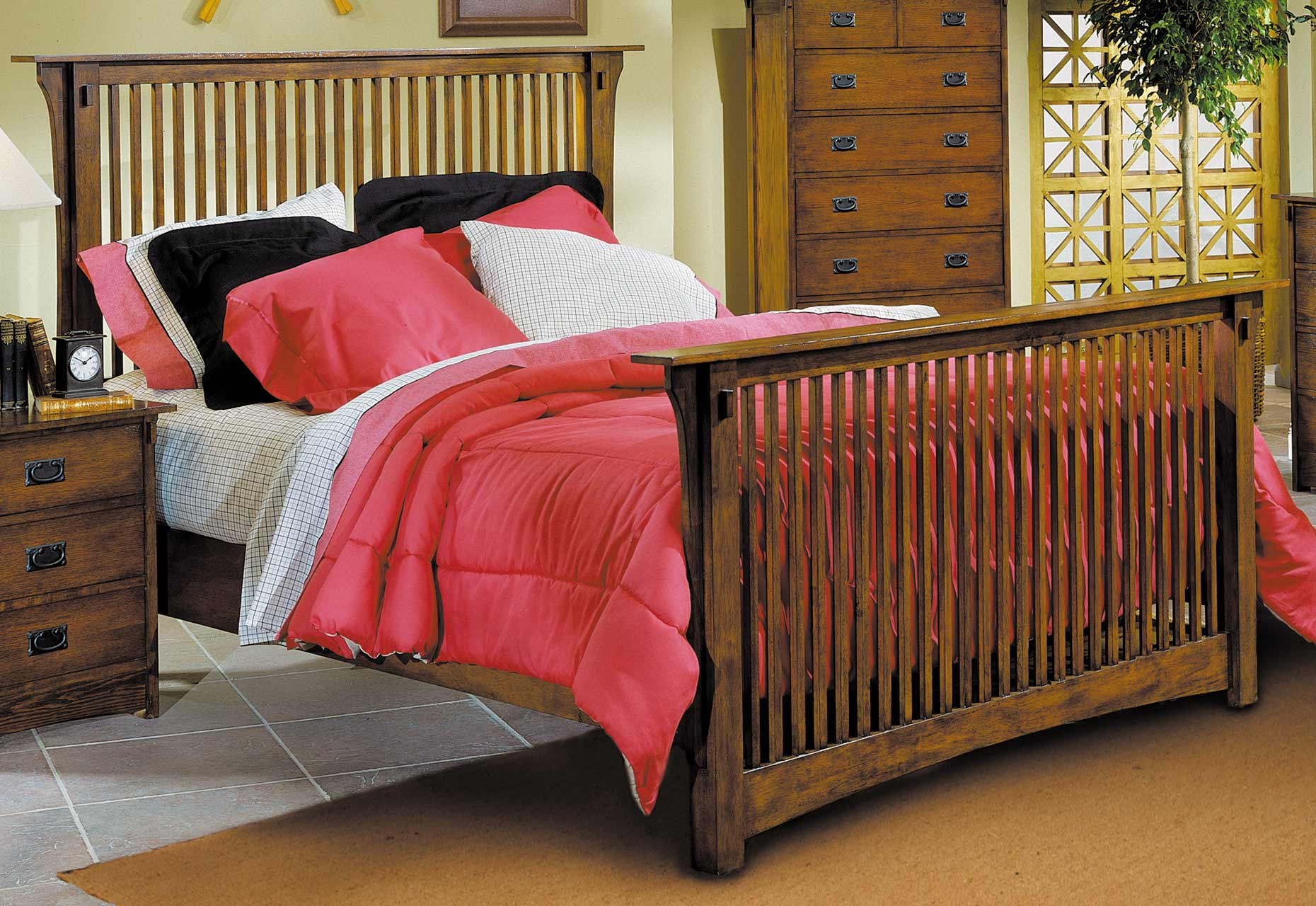Homelegance Santee Bed with Wood Rails