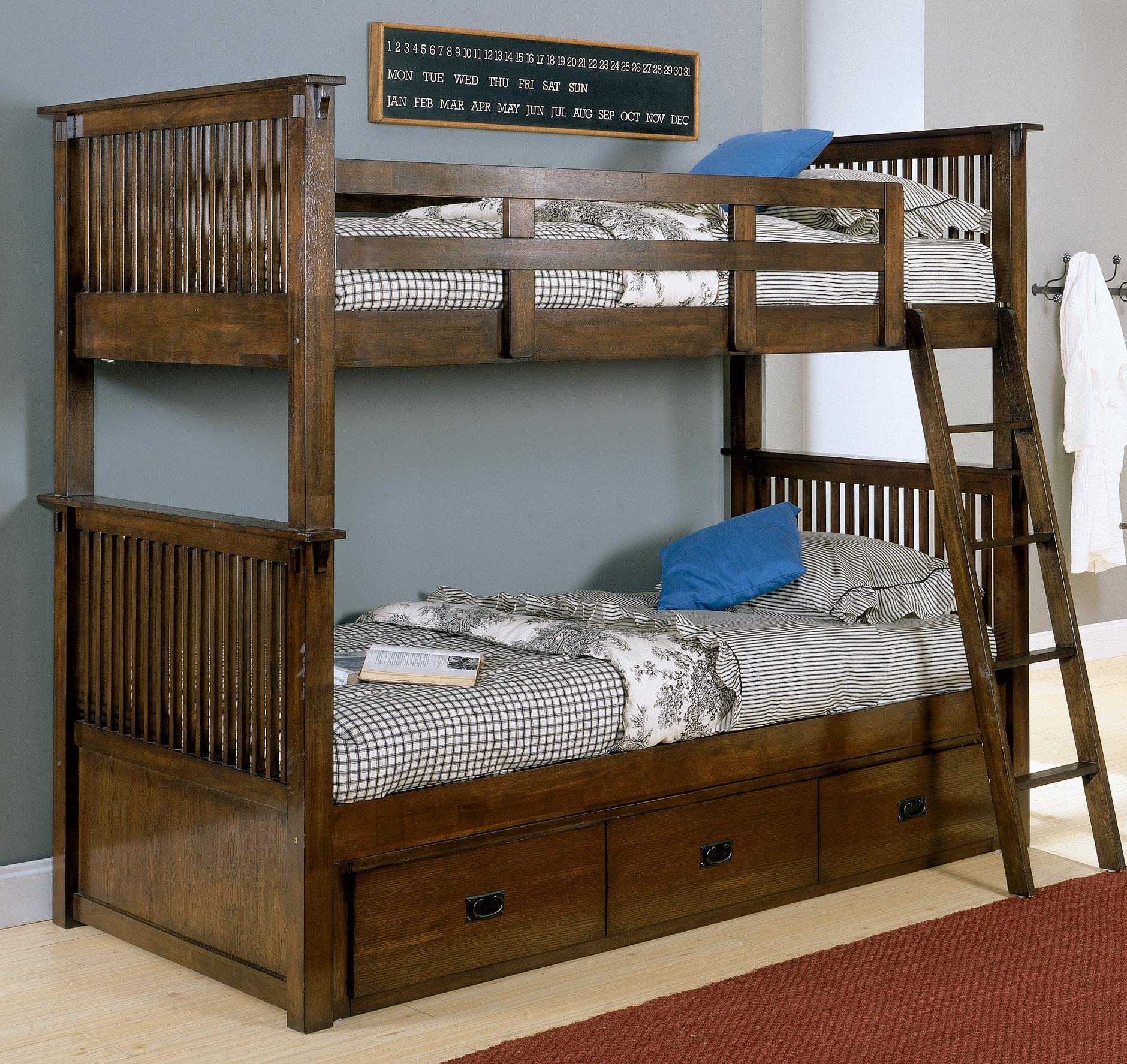 homelegance santee bunk bed with matress support system. Black Bedroom Furniture Sets. Home Design Ideas