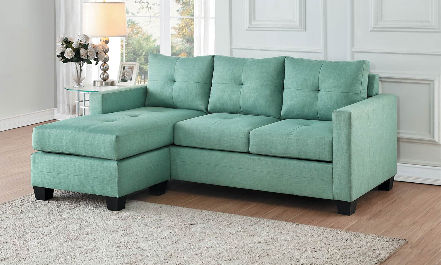 Homelegance Phelps Reversible Sofa Chaise - Teal