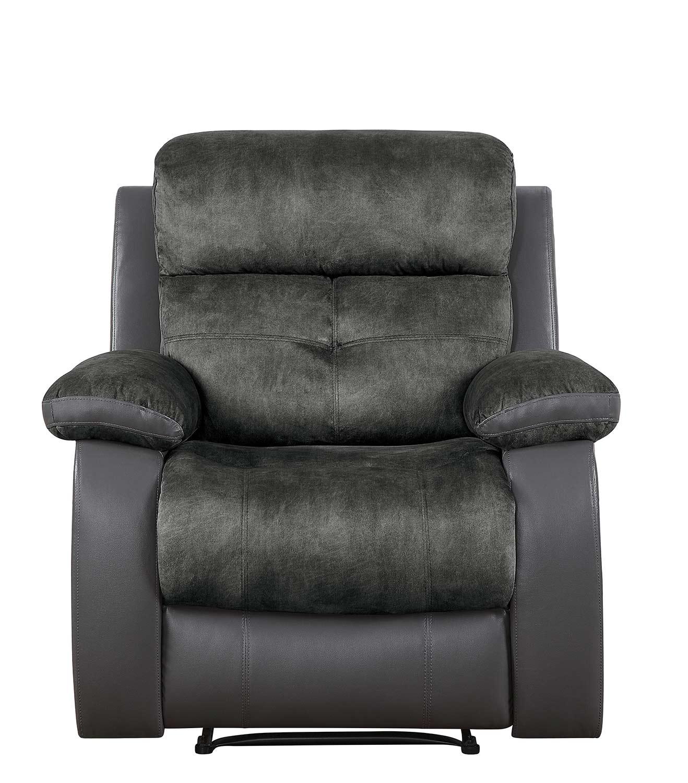 Homelegance Acadia Reclining Chair - Gray microfiber and bi-cast vinyl