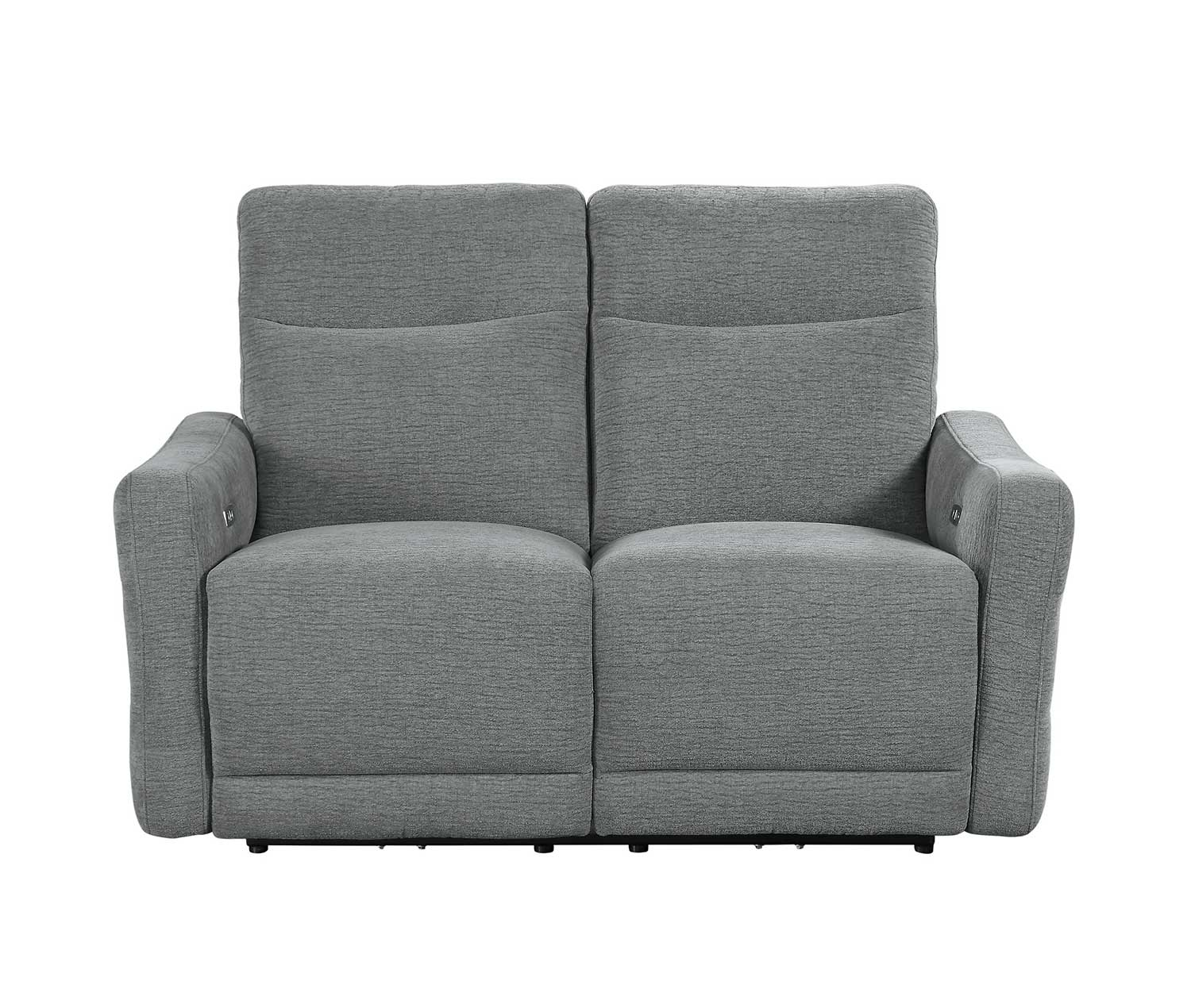 Homelegance Edition Power Double Lay Flat Reclining Love Seat with Power Headrests - Dove
