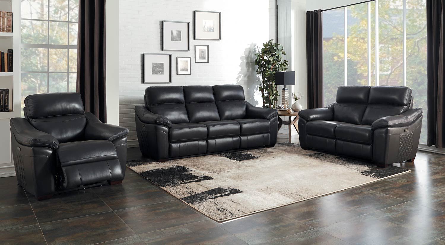 Homelegance Renzo Power Reclining Sofa Set - Dark Gray