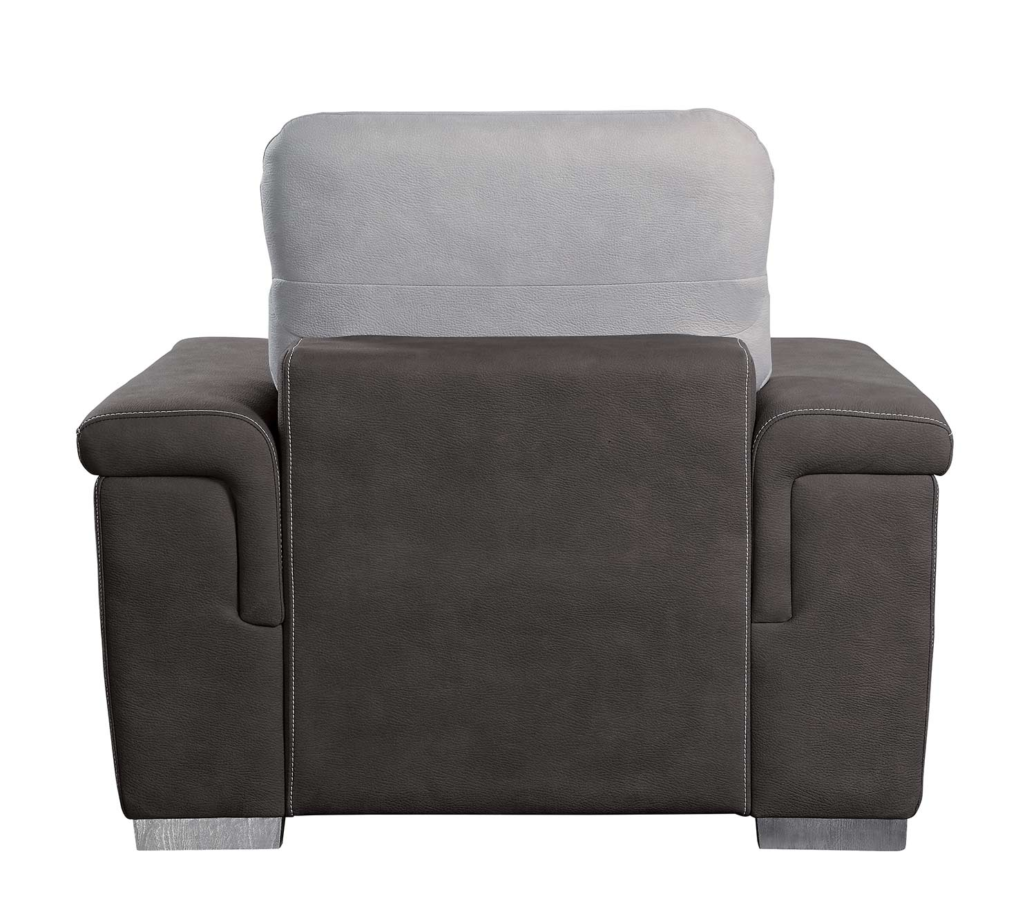 Homelegance Alfio Chair with Pull-out Ottoman - Silver/Chocolate