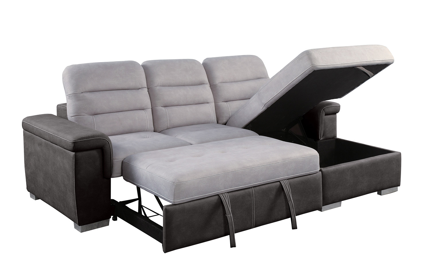 Homelegance Alfio Sectional with Pull-out Bed and Hidden Storage - Silver/Chocolate