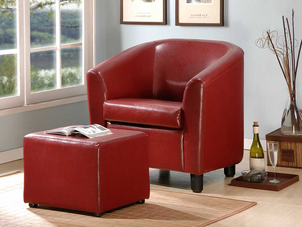 Homelegance Urban Cozy Chair and Ottoman Burgundy Bi-cast Vinyl
