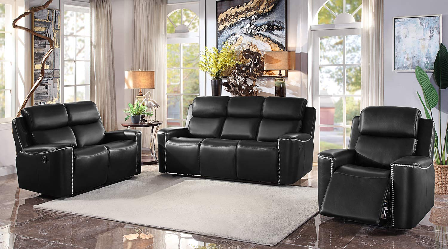 Homelegance Altair Reclining Sofa Set - Black