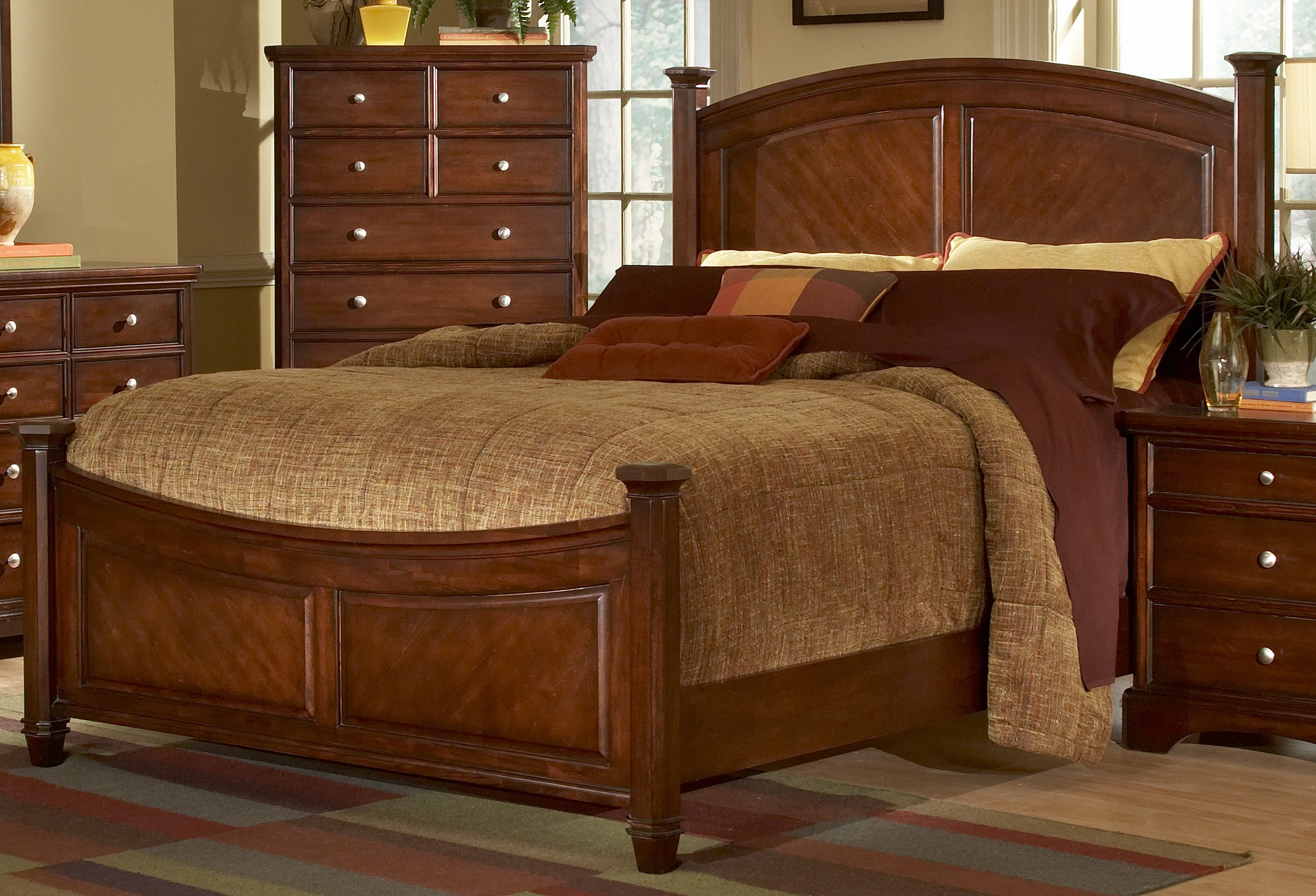 Iron Bed Metal Bed Wood Bed Headboard Laurel Heights Bed Cherry Homelegance